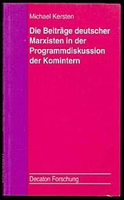 Die Beiträge deutscher Marxisten in der Programmdiskussion der Komintern